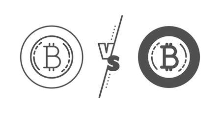 Cryptocurrency coin sign. Versus concept. Bitcoin line icon. Crypto money symbol. Line vs classic bitcoin icon. Vector Stok Fotoğraf - 133851675