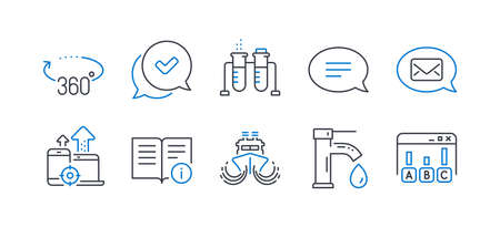 Set of Technology icons, such as Ship, 360 degrees, Tap water, Chemistry beaker, Messenger, Seo devices, Approved, Chat, Technical info, Survey results line icons. Line ship icon. Vector