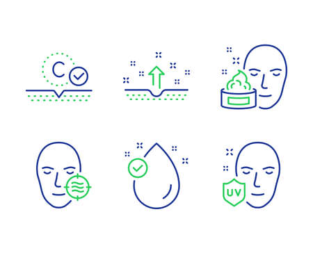 Face cream, Collagen skin and Clean skin line icons set. Vitamin e, Uv protection signs. Gel, Cosmetics, Oil drop. Facial care. Beauty set. Line face cream outline icons. Vector 일러스트