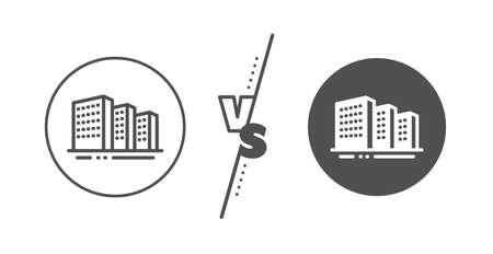 City architecture sign. Versus concept. Buildings line icon. Skyscraper building symbol. Line vs classic buildings icon. Vector Standard-Bild - 133851703