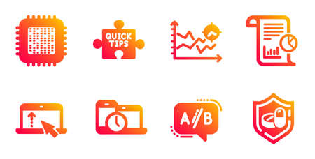 Report, Swipe up and Time management line icons set. Seo analysis, Ab testing and Cpu processor signs. Quick tips, Medical tablet symbols. Work analysis, Scroll screen. Science set. Vector Stok Fotoğraf - 133851753
