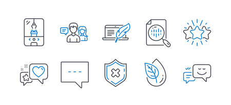 Set of Technology icons, such as Reject protection, Star, Organic product, Blog, Copyright laptop, Analytics chart, Heart, People talking, Crane claw machine, Happy emotion line icons. Vector Ilustrace