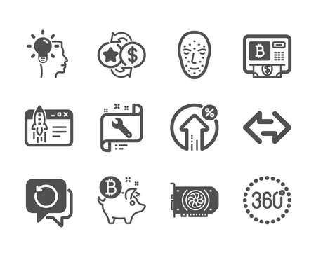 Set of Technology icons, such as Bitcoin atm, Gpu, Sync, Idea, Face biometrics, Spanner, Start business, Loyalty points, Bitcoin coin, Recovery data, Loan percent, 360 degrees. Vector Reklamní fotografie - 133851797