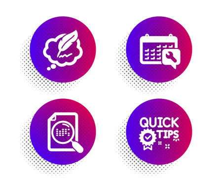 Spanner, Copyright chat and Search file icons simple set. Halftone dots button. Quick tips sign. Repair service, Speech bubble, Find document. Helpful tricks. Technology set. Vector