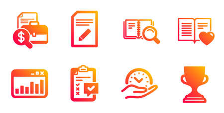 Love book, Accounting report and Safe time line icons set. Checklist, Search book and Marketing statistics signs. Edit document, Award cup symbols. Customer feedback, Financial case. Vector
