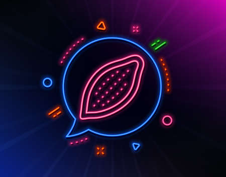 Cocoa nut line icon. Neon laser lights. Tasty nuts sign. Vegan food symbol. Glow laser speech bubble. Neon lights chat bubble. Banner badge with cocoa nut icon. Vector