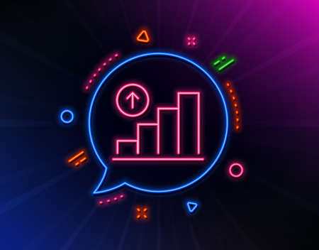 Graph line icon. Neon laser lights. Column chart sign. Growth diagram symbol. Glow laser speech bubble. Neon lights chat bubble. Banner badge with graph chart icon. Vector Archivio Fotografico - 133851933
