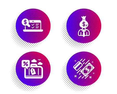 Travel loan, Online accounting and Manager icons simple set. Halftone dots button. Payment sign. Trip discount, Web audit, Work profit. Money. Finance set. Classic flat travel loan icon. Vector