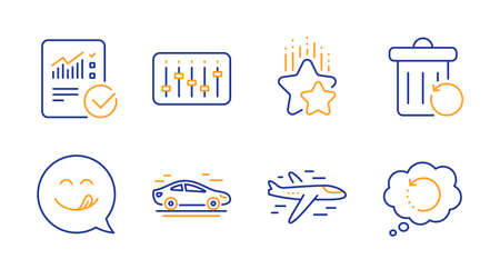 Checked calculation, Dj controller and Car line icons set. Yummy smile, Ranking stars and Airplane signs. Recovery trash, Recovery data symbols. Statistical data, Musical device. Vector
