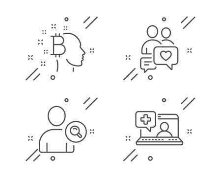 Dating chat, Bitcoin think and Find user line icons set. Medical help sign. People love, Cryptocurrency head, Search person. Medicine laptop. People set. Line dating chat outline icon. Vector Stok Fotoğraf - 133851991