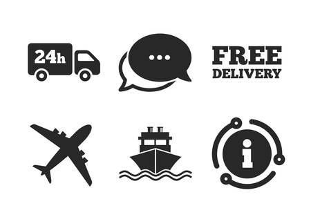 Shipping and free delivery signs. Chat, info sign. Cargo truck and shipping icons. Transport symbols. 24h service. Classic style speech bubble icon. Vector