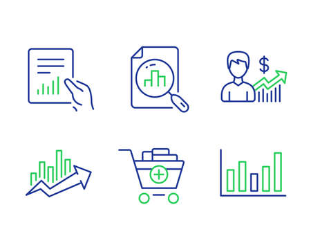 Analytics graph, Growth chart and Document line icons set. Business growth, Add products and Column chart signs. Sale diagram, File with diagram, Earnings results. Shopping cart. Finance set. Vector Ilustração