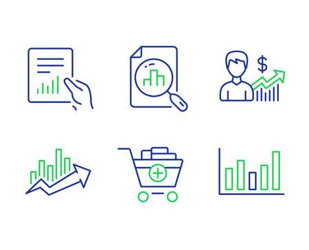 Set di icone di grafico analitico, grafico di crescita e linea documento. Crescita del business, aggiunta di prodotti e segni del grafico a colonne. Diagramma di vendita, File con diagramma, Risultati di guadagno. Carrello della spesa. Insieme di finanza. Vettore Vettoriali