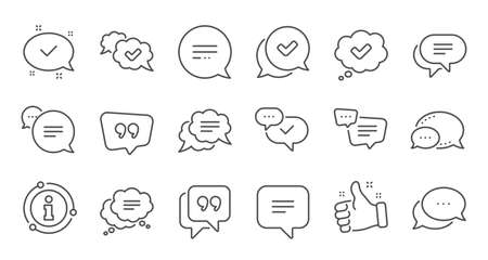 Chat and quote line icons. Approved, Checkmark box and Social media message. Chat speech bubble, Tick or check mark, Comment quote icons. Think speech bubble. Linear set. Quality line set. Vector