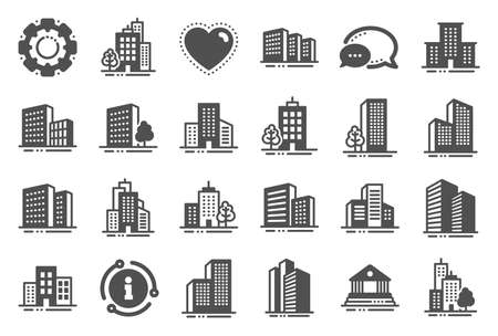 Buildings icons. Bank, Hotel, Courthouse. City, Real estate, Architecture buildings icons. Hospital, town house, museum. Urban architecture, city skyscraper, downtown. Quality set. Vector Standard-Bild - 133852130