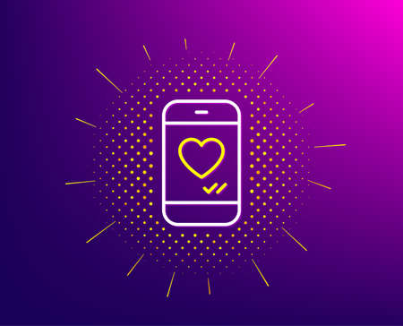Phone with heart line icon. Halftone pattern. Social media like sign. Smartphone Love message symbol. Gradient background. Love chat line icon. Yellow halftone pattern. Vector