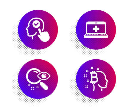 Select user, Search and Medical help icons simple set. Halftone dots button. Bitcoin think sign. Head with checkbox, Find document, Medicine laptop. Cryptocurrency head. Business set. Vector Stok Fotoğraf - 133852167
