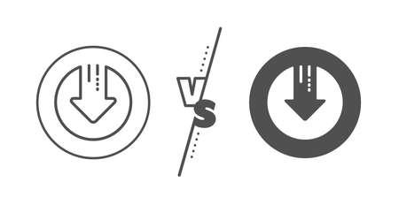 Down arrow sign. Versus concept. Download line icon. Discount symbol. Line vs classic download arrow icon. Vector