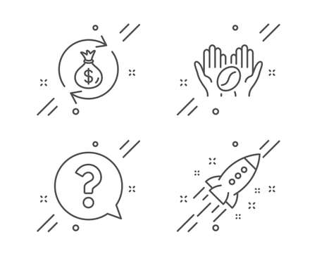 Money exchange, Question mark and Coffee line icons set. Startup rocket sign. Cash in bag, Help support, Roasted bean. Business innovation. Business set. Line money exchange outline icon. Vector