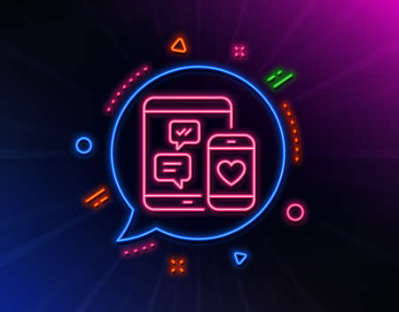 Social media messages line icon. Neon laser lights. Mobile devices sign. Smartphone Love message symbol. Glow laser speech bubble. Neon lights chat bubble. Banner badge with social media icon. Vector