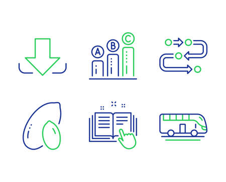 Download, Peanut and Graph chart line icons set. Methodology, Technical documentation and Bus tour signs. Load file, Vegetarian nut, Growth report. Development process. Business set. Vector