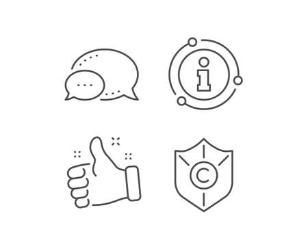 Copyright protection line icon. Chat bubble, info sign elements. Copywriting sign. Shield symbol. Linear copyright protection outline icon. Information bubble. Vector Stok Fotoğraf - 133852288