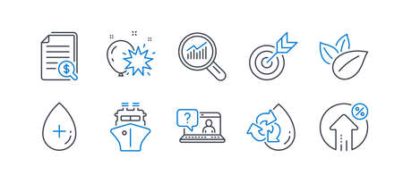 Set of Business icons, such as Target, Organic product, Oil serum, Data analysis, Financial documents, Faq, Balloon dart, Ship, Recycle water, Loan percent line icons. Targeting, Leaves. Vector Archivio Fotografico - 133852311