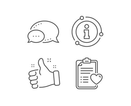 Medical survey line icon. Chat bubble, info sign elements. Hospital patient history sign. Linear patient history outline icon. Information bubble. Vector
