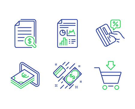 Financial documents, Cash and Report document line icons set. Payment, Credit card and Online market signs. Check docs, Atm payment, Growth chart. Money. Finance set. Vector 일러스트