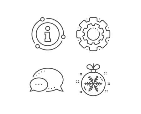 Christmas ball with snowflake line icon. Chat bubble, info sign elements. New year tree decoration sign. Linear christmas ball outline icon. Information bubble. Vector 일러스트
