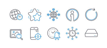 Set of Technology icons, such as Seo phone, Time zone, Star, Search photo, Logistics network, Info, Synchronize, Alarm bell, World time, Mini pc line icons. Line seo phone icon. Vector