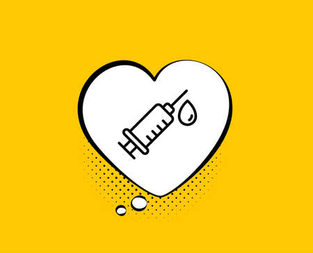 Medical syringe line icon. Comic speech bubble. Medicine vaccine sign. Pharmacy medication symbol. Yellow background with chat bubble. Medical syringe icon. Colorful banner. Vector