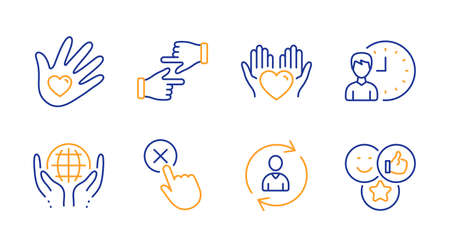 Hold heart, Click hands and Person info line icons set. Reject click, Organic tested and Social responsibility signs. Working hours, Like symbols. Care love, Direction. People set. Vector