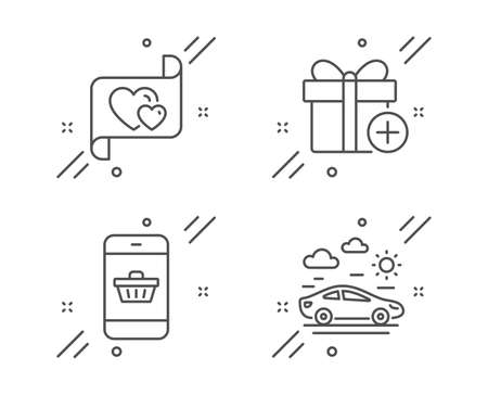 Add gift, Smartphone buying and Love letter line icons set. Car travel sign. Present box, Website shopping, Heart. Transport. Holidays set. Line add gift outline icon. Vector  イラスト・ベクター素材