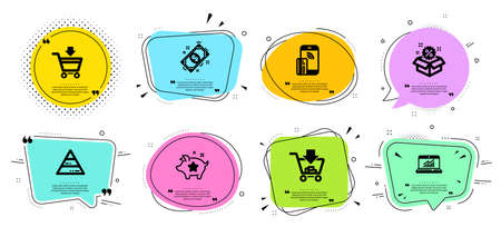 Shopping, Loyalty points and Pyramid chart line icons set. Chat bubbles with quotes. Online market, Payment and Contactless payment signs. Sale, Online statistics symbols. Vector