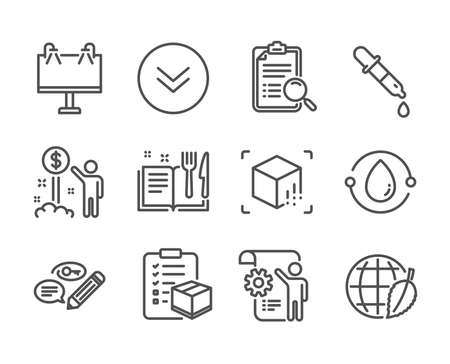 Set of Business icons, such as Keywords, Environment day, Cold-pressed oil, Scroll down, Augmented reality, Chemistry pipette, Parcel checklist, Settings blueprint, Search analysis. Vector Ilustração