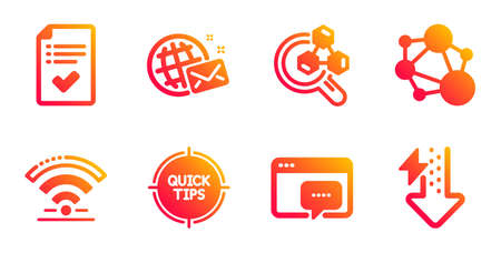 Approved checklist, World mail and Seo message line icons set. Wifi, Integrity and Tips signs. Chemistry lab, Energy drops symbols. Accepted message, Chat. Technology set. Vector