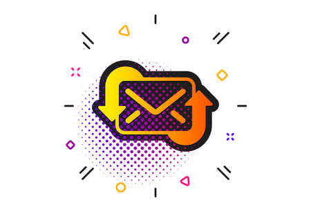 New Messages correspondence sign. Halftone circles pattern. Refresh Mail icon. E-mail symbol. Classic flat refresh Mail icon. Vector Illusztráció