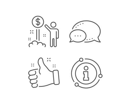 Income money line icon. Chat bubble, info sign elements. Wealth sign. Credit card symbol. Linear income money outline icon. Information bubble. Vector Ilustrace