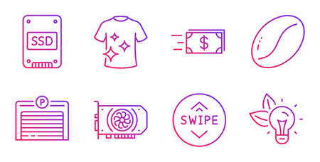 Money transfer, Ssd and Gpu line icons set. Swipe up, Clean t-shirt and Coffee beans signs. Parking garage, Eco energy symbols. Cash delivery, Solid-state drive. Gradient money transfer icon. Vector Illusztráció