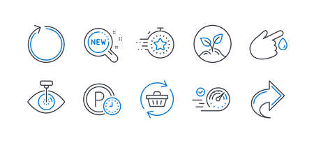 Set of Business icons, such as Refresh cart, Parking time, Blood donation, Speedometer, Startup, Eye laser, Loop, Timer, New products, Share line icons. Online shopping, Park clock. Vector