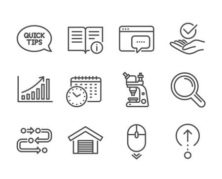 Set of Technology icons, such as Graph chart, Microscope, Quickstart guide, Methodology, Research, Seo message, Scroll down, Calendar time, Swipe up, Technical info, Parking garage. Vector