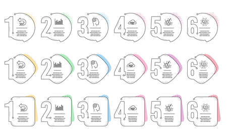 Anti-dandruff flakes, Engineering and 360 degrees line icons set. Infographic timeline. Medical drugs, Bar diagram and Quick tips signs. Healthy hair, Cogwheel head, Full rotation. Vector Illustration