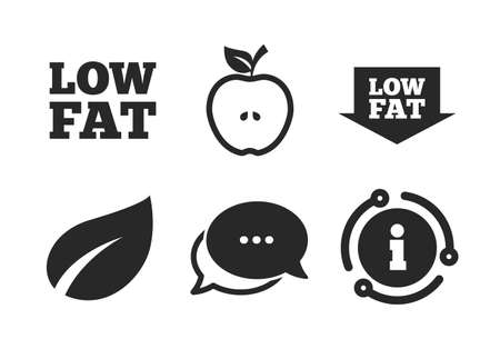 Diets and vegetarian food signs. Chat, info sign. Low fat arrow icons. Apple with leaf symbol. Classic style speech bubble icon. Vector