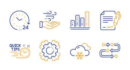 Seo gear, 24 hours and Snow weather line icons set. Quick tips, Graph chart and Signing document signs. Wind energy, Methodology symbols. Cogwheel, Time. Science set. Line seo gear icon. Vector