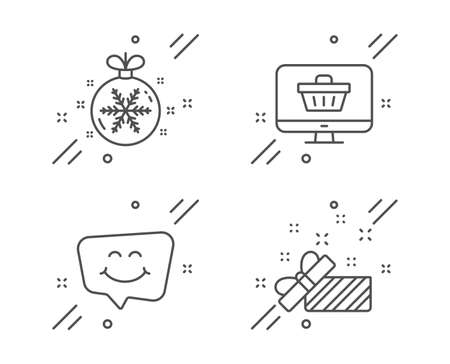 Smile chat, Web shop and Christmas ball line icons set. Present sign. Happy face, Shopping cart, Snowflake. Gift. Holidays set. Line smile chat outline icon. Vector