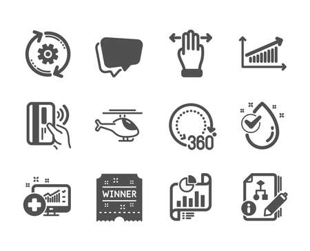 Set of Business icons, such as Water drop, Contactless payment, Multitasking gesture, Chart, Algorithm, Winner ticket, Report document, 360 degrees, Cogwheel, Helicopter, Medical analytics. Vector Reklamní fotografie - 133852864