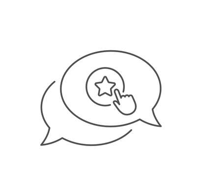 Loyalty star line icon. Chat bubble design. Bonus points. Discount program symbol. Outline concept. Thin line loyalty star icon. Vector