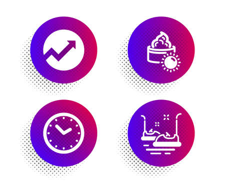 Time, Audit and Sun cream icons simple set. Halftone dots button. Bumper cars sign. Clock, Arrow graph, Face lotion. Carousels. Business set. Classic flat time icon. Vector