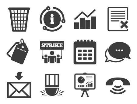 Call, strike and calendar signs. Discount offer tag, chat, info icon. Office, documents and business icons. Mail, presentation and charts symbols. Classic style signs set. Vector Çizim